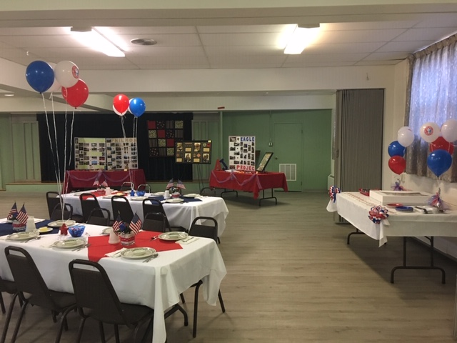 Fellowship Hall decorated for Boy Scout event
